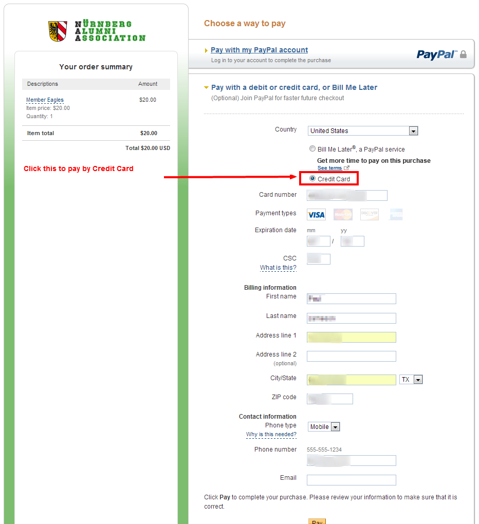 PayPal vs Credit Card | Nürnberg Alumni Association